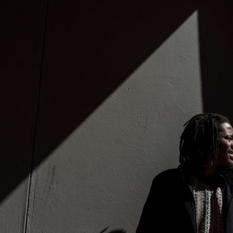 07 August 2018. Nhlanhla Nqgaqu of the band iPhupho L'ka Biko is seen in Braamfontein during an interview with New Frame.