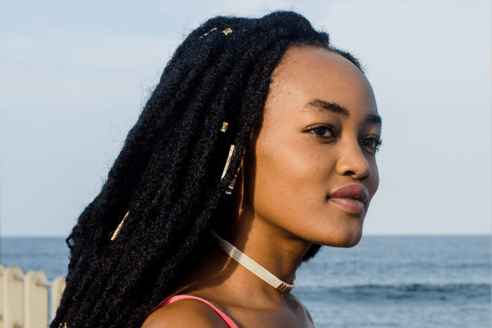 Kenyan actor Sheila Munyiva on the Durban beachfront during the Durban International Film Festival