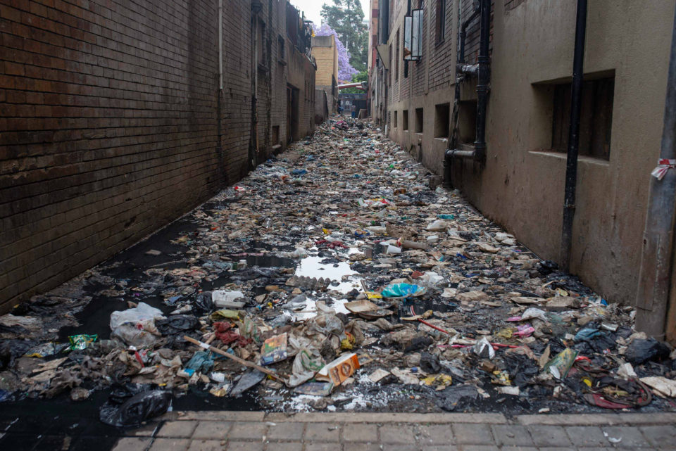 23 October 2018: Rubbish lies between residential buildings in Hillbrow. Residents are complaining about living conditions at apartments run by Urban Task Force property management agency.