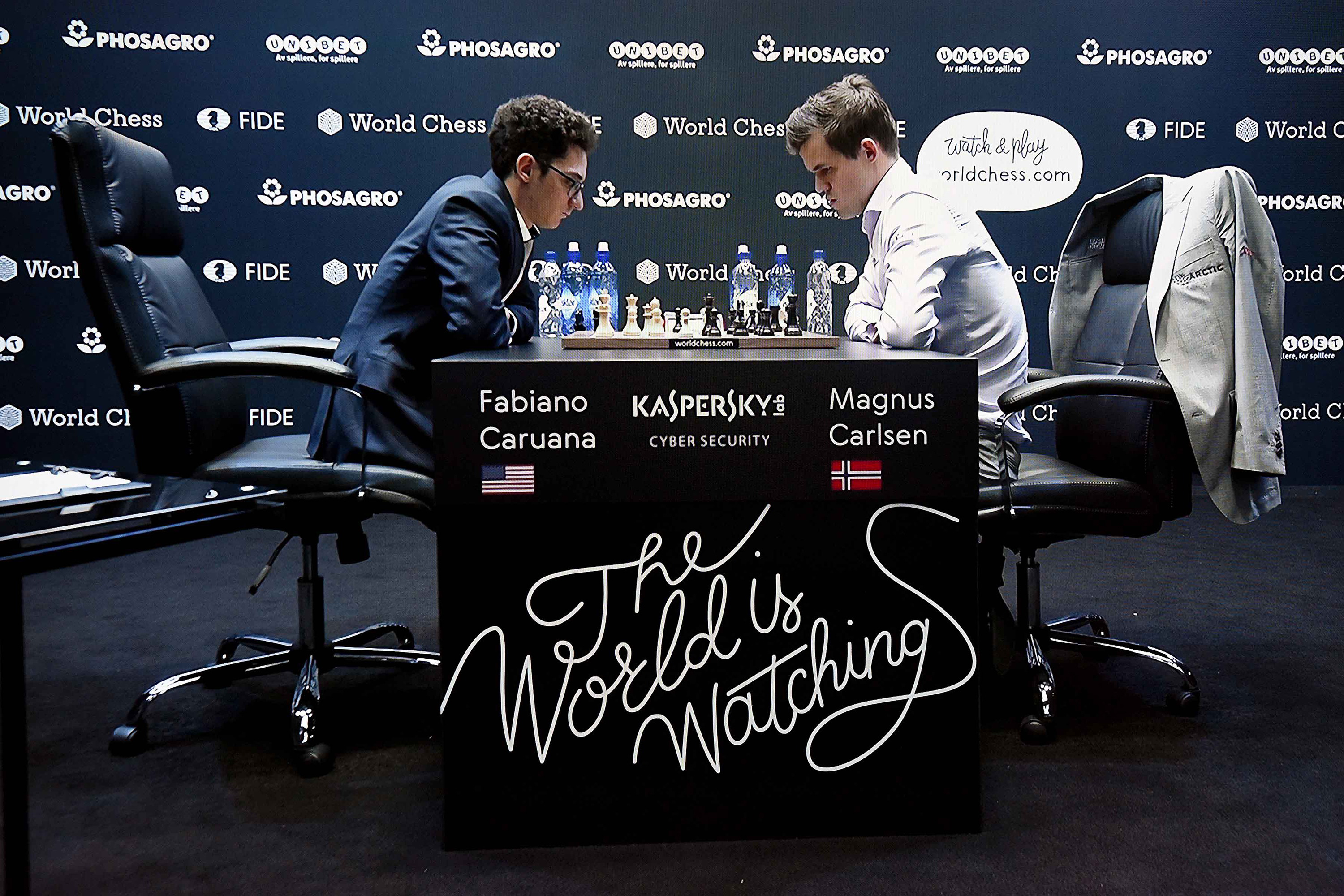 28 November 2018: (Left-right) Fabiano Caruana and Magnus Carlsen during the tiebreaker games of the World Chess Championship 2018, won by Norwegian title holder, Carlsen, in London, England. (Photograph by Nicky J Sims/Getty Images for Kaspersky Lab)