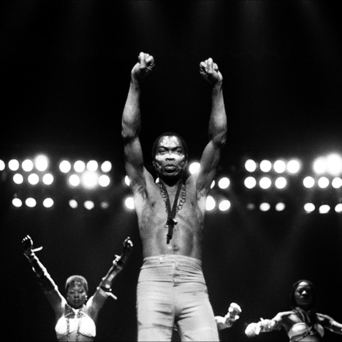 Fela Kuti performs at Orchestra Hall in Detroit Michigan on November 7 1986 in Detroit Michigan. (Photograph by Leni Sinclair/Michael Ochs Archives/Getty Images)
