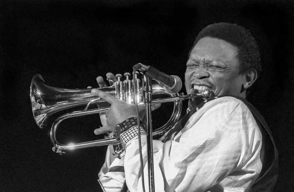 11 March 1994: Hugh Masekela during a performance at the Manhattan Center in New York City. (Photograph by Jack Vartoogian/Getty Images)
