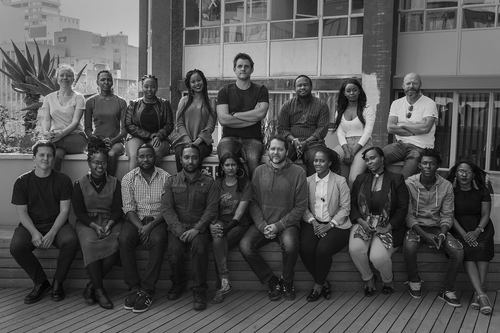 New Frame staff outside our offices in Braamfontein, Johannesburg.