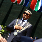 King Goodwill Zwelithini during the official opening of the KwaZulu-Natal Legislature at Pietermaritzburg Show grounds on February 28, 2017.
