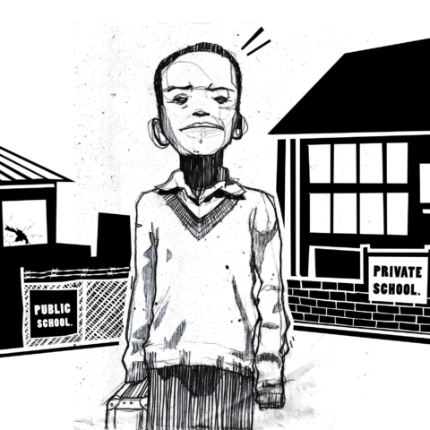 Illustration of child between public and private schooling by Nivesh Rawatlal