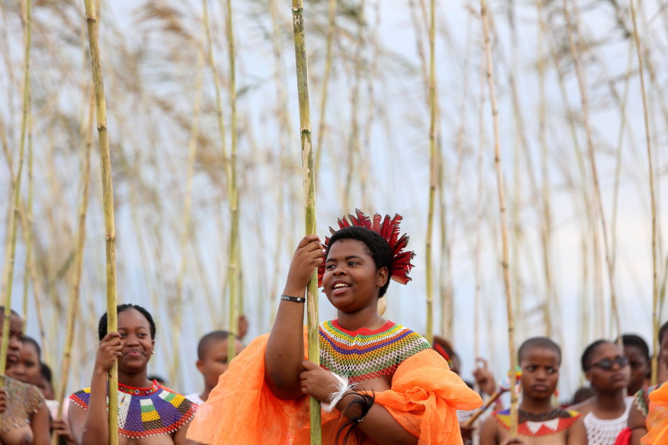 8 September 2018: Princess Cebolabo Zulu leads maidens during the annual Umkhosi Womhlanga (reed dance) at eNyokeni Royal Palace in KwaNongoma, KwaZulu-Natal. (Photograph by Gallo Images/Sowetan/Thuli Dlamini)