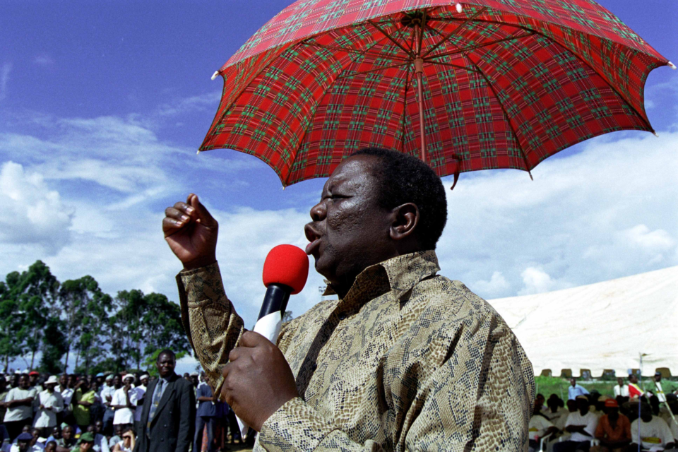 Morgan Tsvangirai, the leader of the opposition party Movement for Democratic Change (MDC), speaks at a political rally held at the Chibuku Stadium in Chitungwiza, Zimbabwe, February 2002. (Photo by Ann Johansson/Corbis via Getty Images)