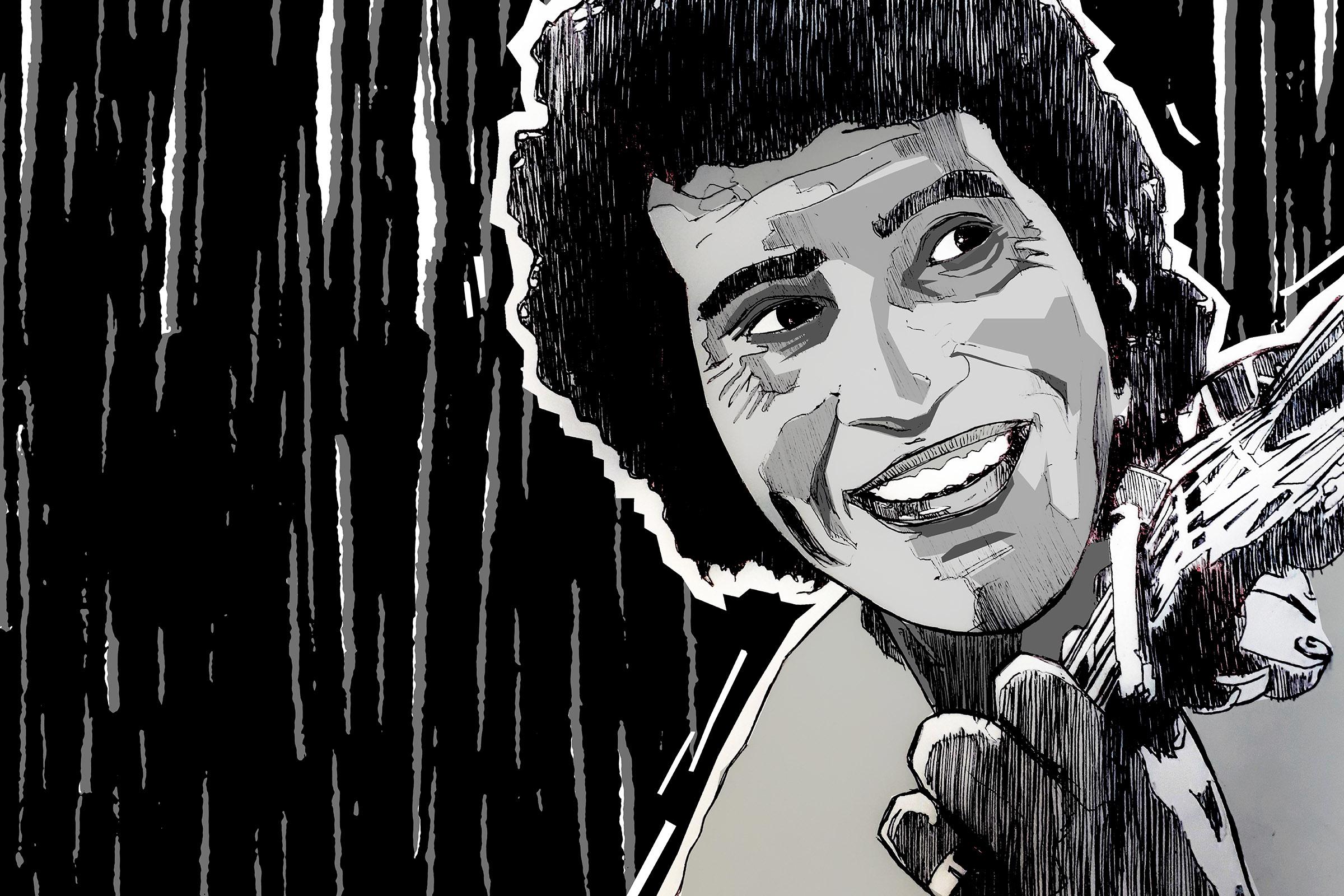 Illustration of Victor Jara by Nivesh Rawatlal