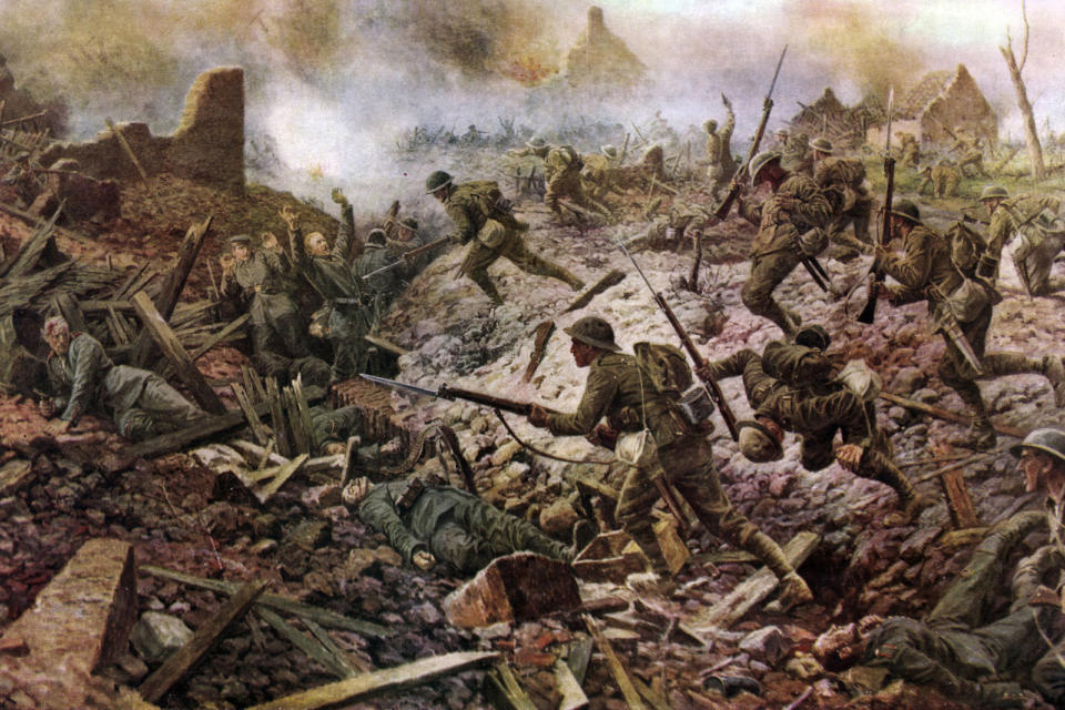 The London Territorials at Pozières during the Battle of the Somme, 1916 from a painting by W.B. Wollen that appeared in The Sphere magazine on January 4, 1919. (Photo by Culture Club/Getty Images)