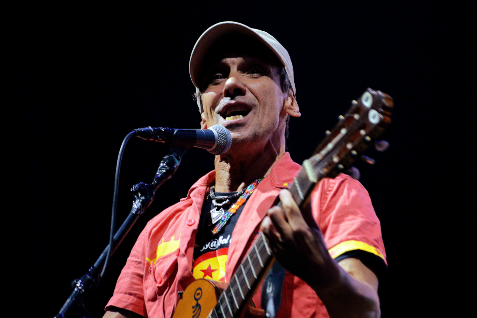 12 August 2016: Manu Chao performs on day three of the Sziget festival in Budapest, Hungary. (Photograph by Didier Messens/Redferns)