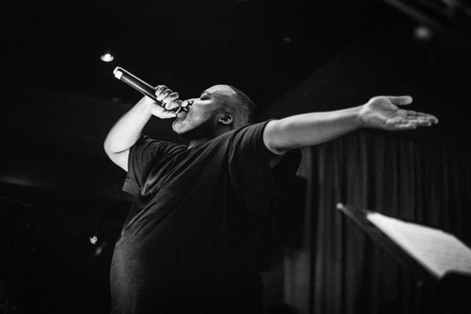 26 October 2018: Stogie T in performance at The Untitled Basement in Johannesburg. Photograph by Sabelo Mkhabela