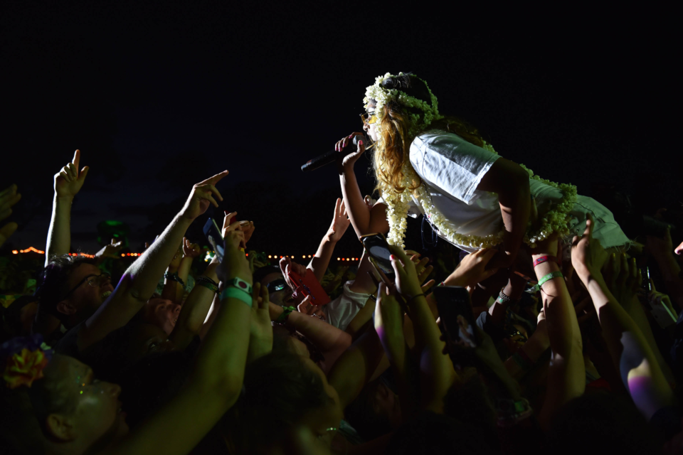 5 August 2018: M.I.A. on stage during day four of Bestival 2018 at Lulworth Estate in Lulworth Camp England. (Photograph by C Brandon/Redferns)