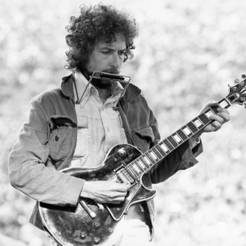 23 March 1975: Bob Dylan performs at Kezar Stadium in San Francisco, California. (Photograph by Alvan Meyerowitz/Michael Ochs Archives/Getty Images)