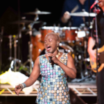 5 May 2018: Singer-songwriter Angelique Kidjo performs at The Theatre at Ace Hotel in Los Angeles, California. (Photograph by Earl Gibson III/Getty Images)