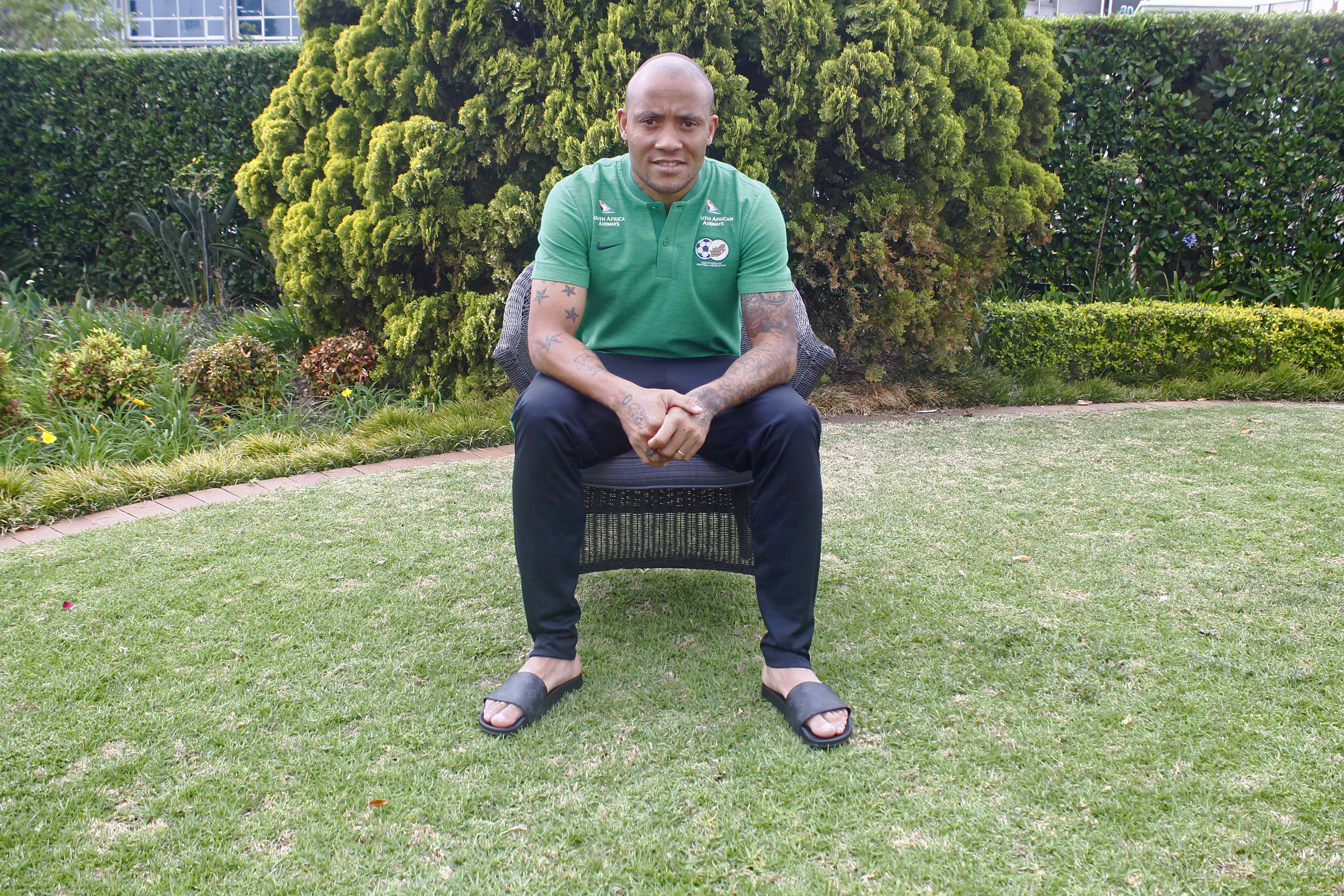 10 October 2018: Bafana Bafana player Dino Ndlovu at the Southern Sun hotel in Sandton.