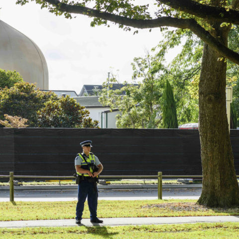 20 March 2019: An armed police officer in front of Al Noor mosque in Christchurch, New Zealand, one of two mosques at which an Australian man killed 50 people. (Photograph by Kai Schwoerer/Getty Images)