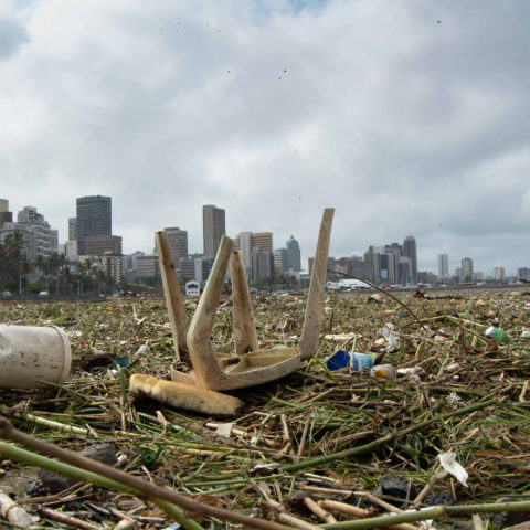 24 April 2019: The torrential rain and flooded rivers in Durban washed tonnes of plastic and other rubbish into Durban Harbour.