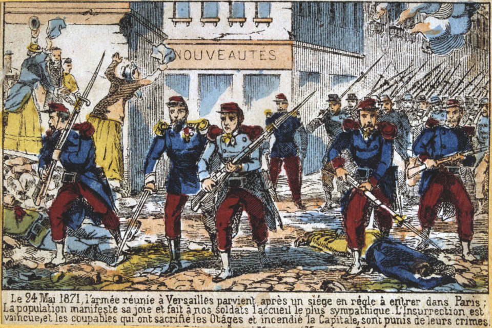 24 May 1871: A news sheet detail shows government soldiers advancing into Paris to suppress the Commune. The caption asserts that people were joyful at the army's arrival. In reality, however, the Communards were not. (Image by Art Media/Print Collector/G
