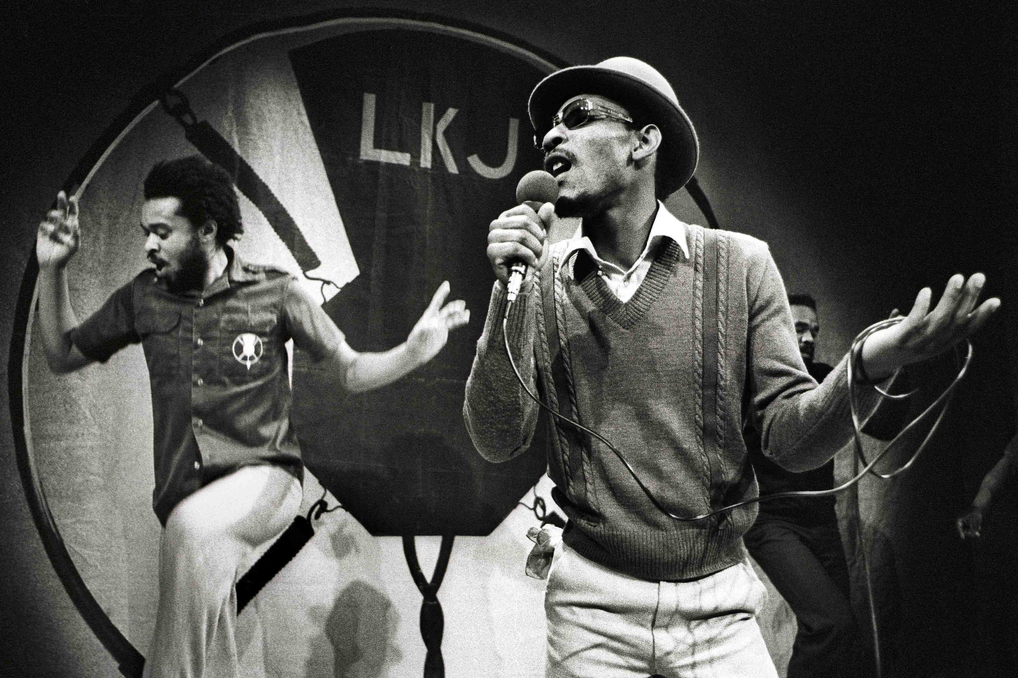 10 January 1980: Linton Kwesi Johnson (right) performing on stage at the Paradiso in Amsterdam, The Netherlands. (Photograph by Rob Verhorst/Redferns)