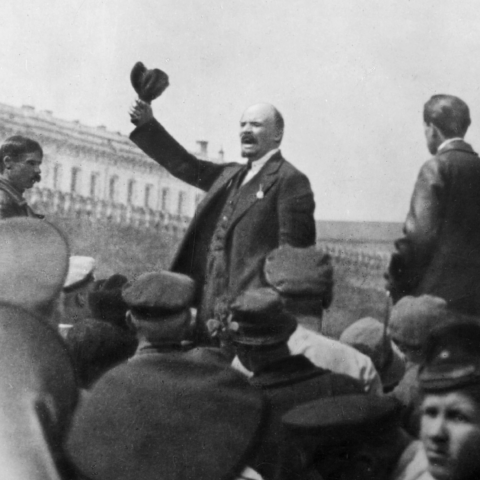 25 May 1919: Vladimir Lenin addresses Red Army troops in Moscow's Red Square. (Photograph by Slava Katamidze Collection/Getty Images)