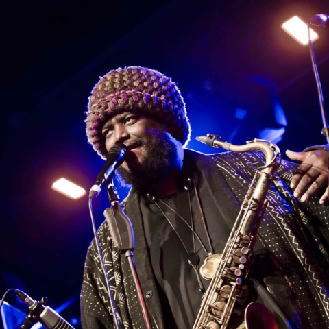 25 May 2018: American musician Kamasi Washington on stage during a concert at the Astra in Berlin, Germany. (Photograph by Frank Hoensch/Redferns)