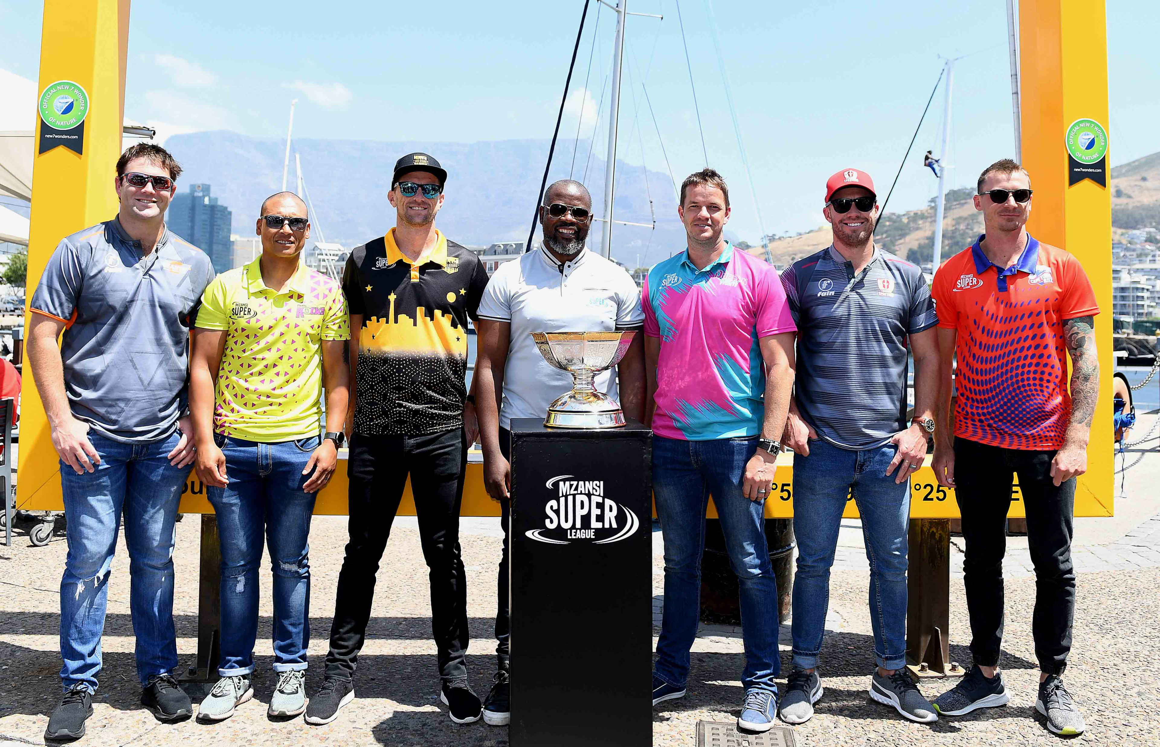 15 November 2018: Jon-Jon Smuts, Henry Davids, Dane Vilas, Thabang Moroe, Albie Morkel, AB de Villiers and Dale Steyn at the 2018 Mzansi Super League Launch at the V&A Waterfront, Cape Town. (Photograph by Ashley Vlotman/Gallo Images)