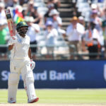 4 January 2019: Proteas' Temba Bavuma raises his bat after reaching his 50 during day two of the second Castle Lager Test match between South Africa and Pakistan at PPC Newlands in Cape Town. (Photograph by Shaun Roy/Gallo Images)