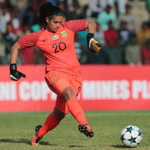 20 September 2018: Kaylin Swart in action during the Cosafa Women's Championship semifinal match between South Africa and Uganda at Wolfson Stadium in Port Elizabeth. (Photograph by Richard Huggard/Gallo Images)