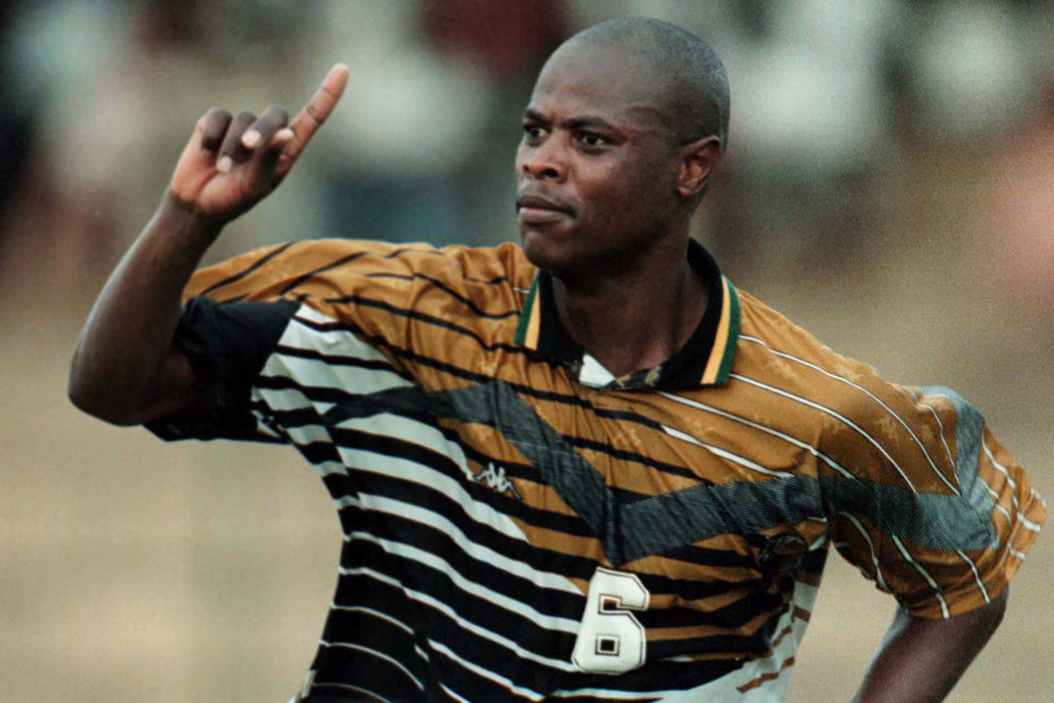 "1997: Phil ""Chippa"" Masinga after scoring a goal against Zaire, now known as Democratic Republic of Congo, in Lomé Togo. (Photograph by Duif du Toit/Gallo Images)"