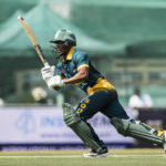 28 October 2017: Jerry Nqolo batting during the Hong Kong Cricket World Sixes 2017 Group A match between Marylebone Cricket Club and South Africa at Kowloon Cricket Club. (Photograph by Power Sport Images/Getty Images)
