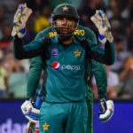22 January 2019: Pakistan captain Sarfraz Ahmed faces the camera while Proteas batsman Andile Phehlukwayo stands behind him during the second Momentum ODI match at Sahara Stadium Kingsmead in Durban. (Photograph by Darren Stewart/Gallo Images)