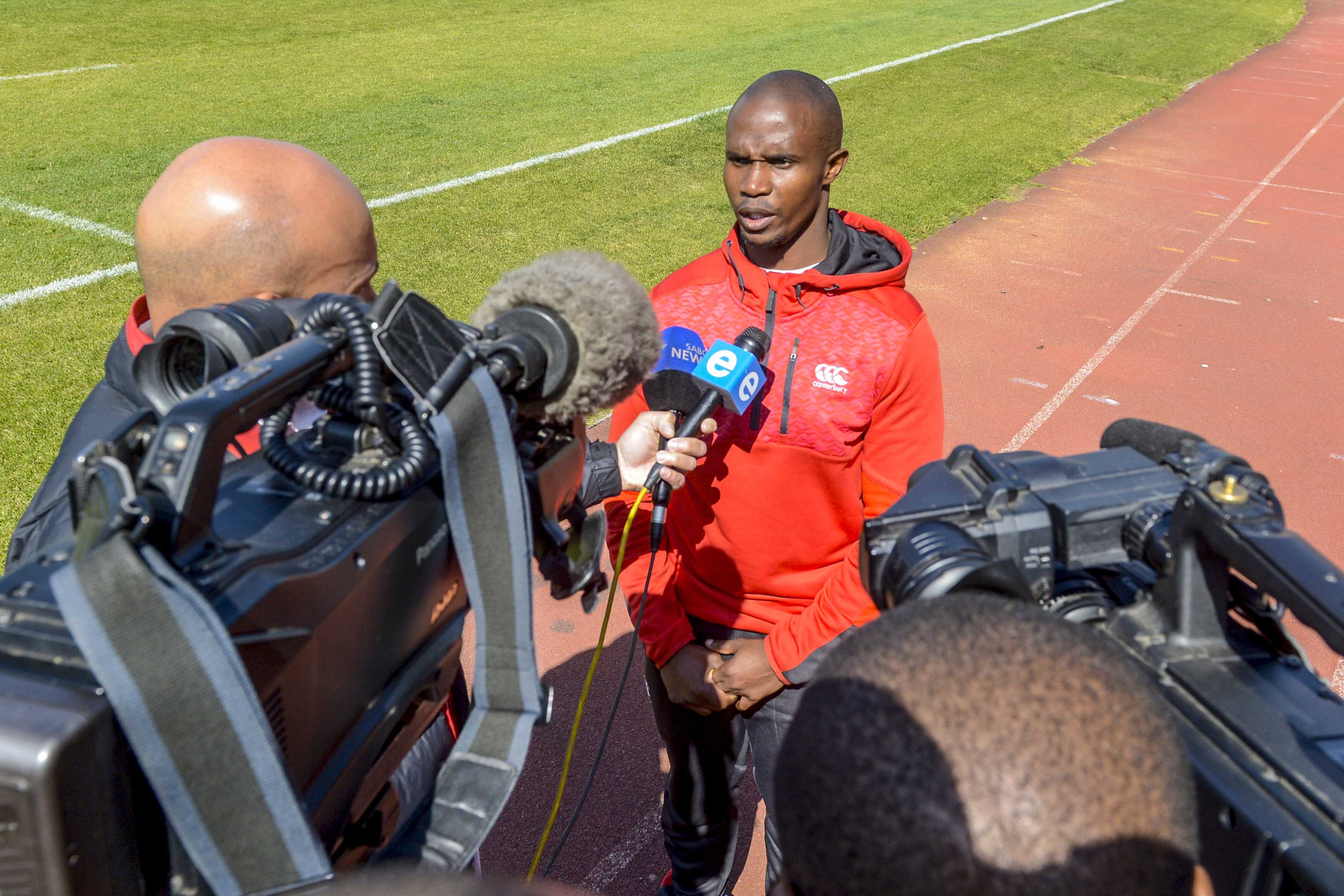 17 July 2018: Lions' defence coach Joey Mongalo speaks to the media during at Johannesburg Stadium. Mongalo will be one of three black coaches in Super Rugby with the country's four franchises. (Photograph by Sydney Seshibedi/Gallo Images)