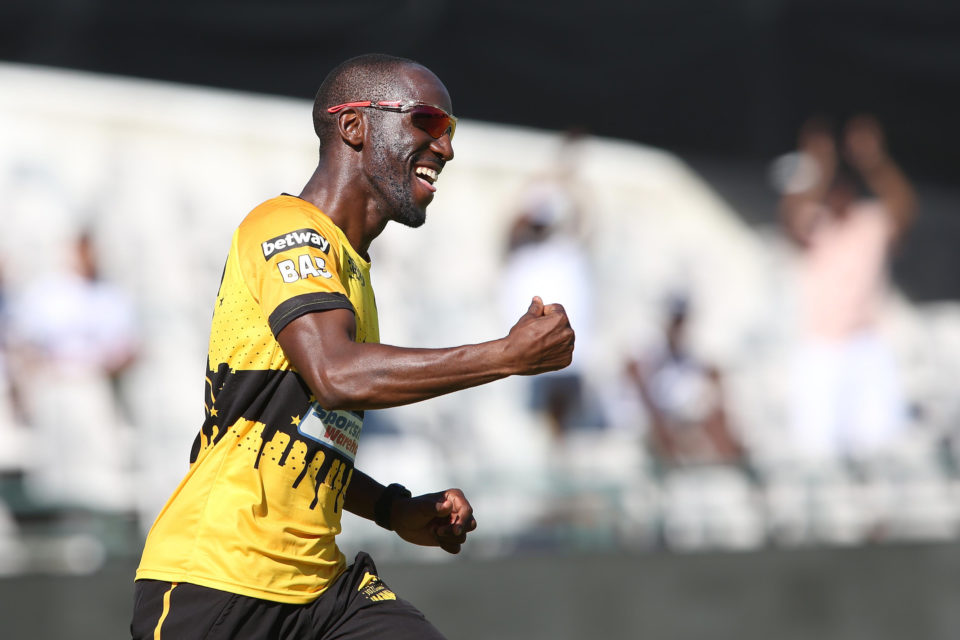 16 December 2018: Nono Pongolo of Jozi Stars celebrates taking a catch during the Mzansi Super League Final between Cape Town Blitz and his team at PPC Newlands in Cape Town. (Photograph by Shaun Roy/Gallo Images)