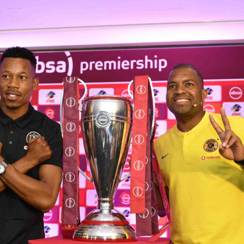 24 October 2018: Orlando Pirates captain Happy Jele (left) and Kaizer Chiefs captain Itumeleng Khune during the Woza Nazo Soweto Derby press conference at the Premier Soccer League offices in Johannesburg. (Photograph by Lefty Shivambu/Gallo Images)