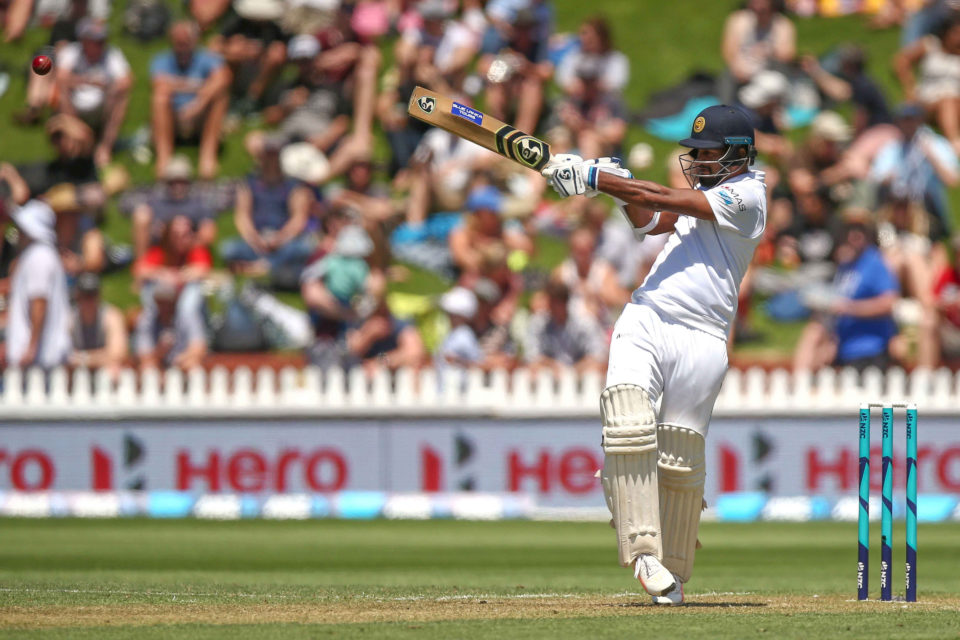 15 December 2018: Dimuth Karunaratne of Sri Lanka executes a pull shot during day one of the first Test match against New Zealand at Basin Reserve in Wellington, New Zealand. (Photograph by Hagen Hopkins/Getty Images)