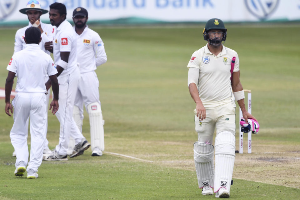 15 February 2019: South Africa's Faf du Plessis walks off after being dismissed for 90 on day three of the first Test match against Sri Lanka at Kingsmead Stadium in Durban. (Photograph by Lee Warren/Gallo Images/Getty Images)