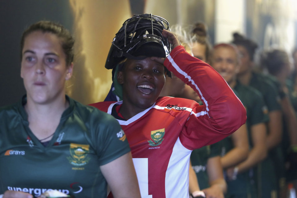 28 July 2018: Phumelela Mbande shouts encouragement to her teammates in the tunnel during the Pool C game between South Africa and Argentina at the FIH Women's Hockey World Cup in London. (Photograph by Christopher Lee/Getty Images)