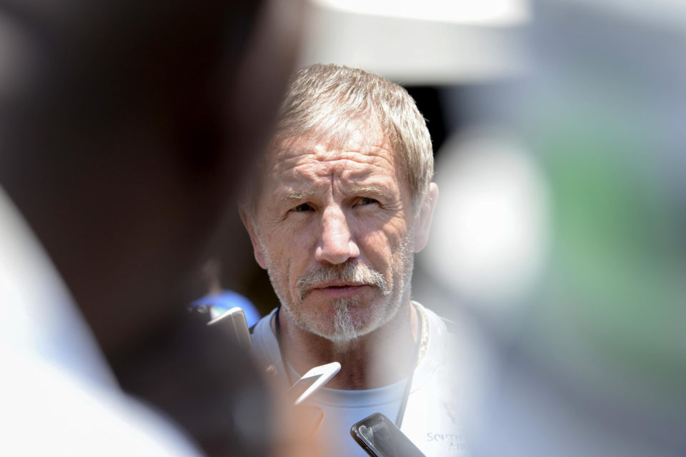 16 November 2018: Coach Stuart Baxter muses over a question during the Bafana Bafana training session at FNB Stadium in Soweto. (Photograph by Lee Warren/Gallo Images)