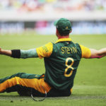 7 March 2015: Dale Steyn of the Proteas celebrates after taking a catch to dismiss Ahmad Shahzad of Pakistan during an ICC Cricket World Cup match at Eden Park in Auckland, New Zealand. (Photograph by Hannah Peters/Getty Images)