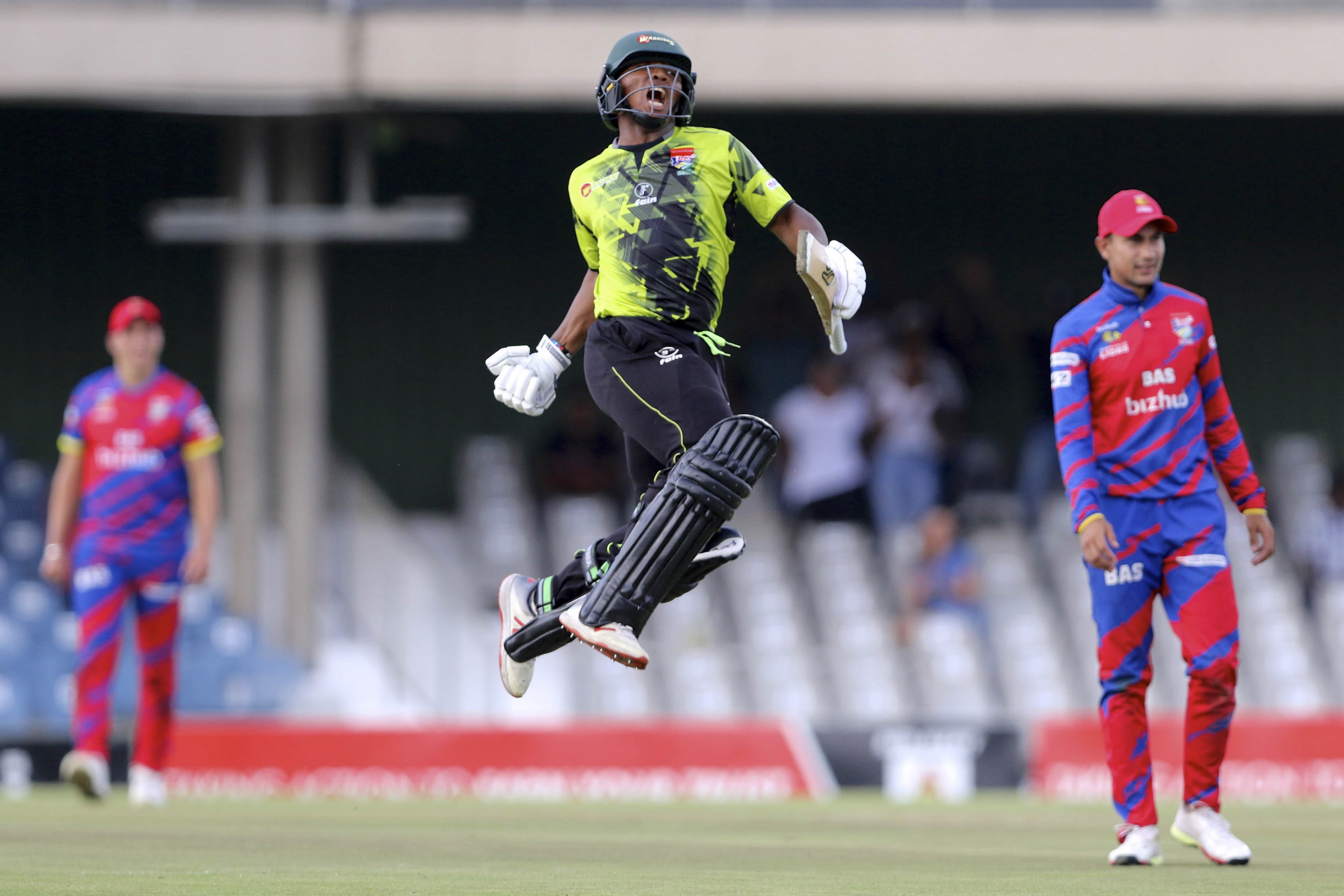 1 March 2019: 100 up for Sinethemba Qeshile of the Warriors during the Momentum One-Day Cup match against the bizhub Highveld Lions at Buffalo Park in East London. (Photograph by Richard Huggard/Gallo Images)