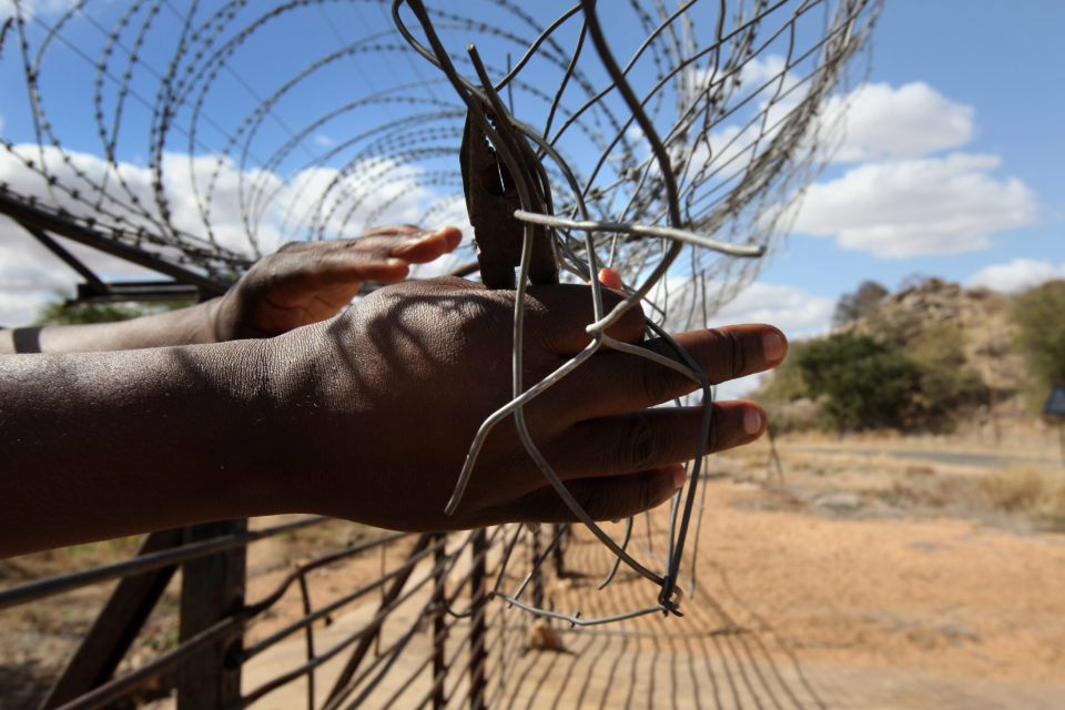 27 May 2008: The fence between Zimbabwe and South Africa being cut near Musina to allow movement across the border. (Photograph by John Moore/Getty Images)