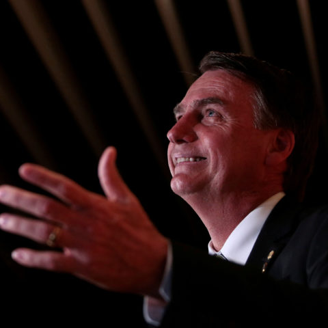 27 November 2017: Brazilian far-right presidential candidate Jair Bolsonaro speaks during a forum hosted by news magazine Veja in Sao Paulo, Brazil. (Photograph by Reuters/Leonardo Benassatto)