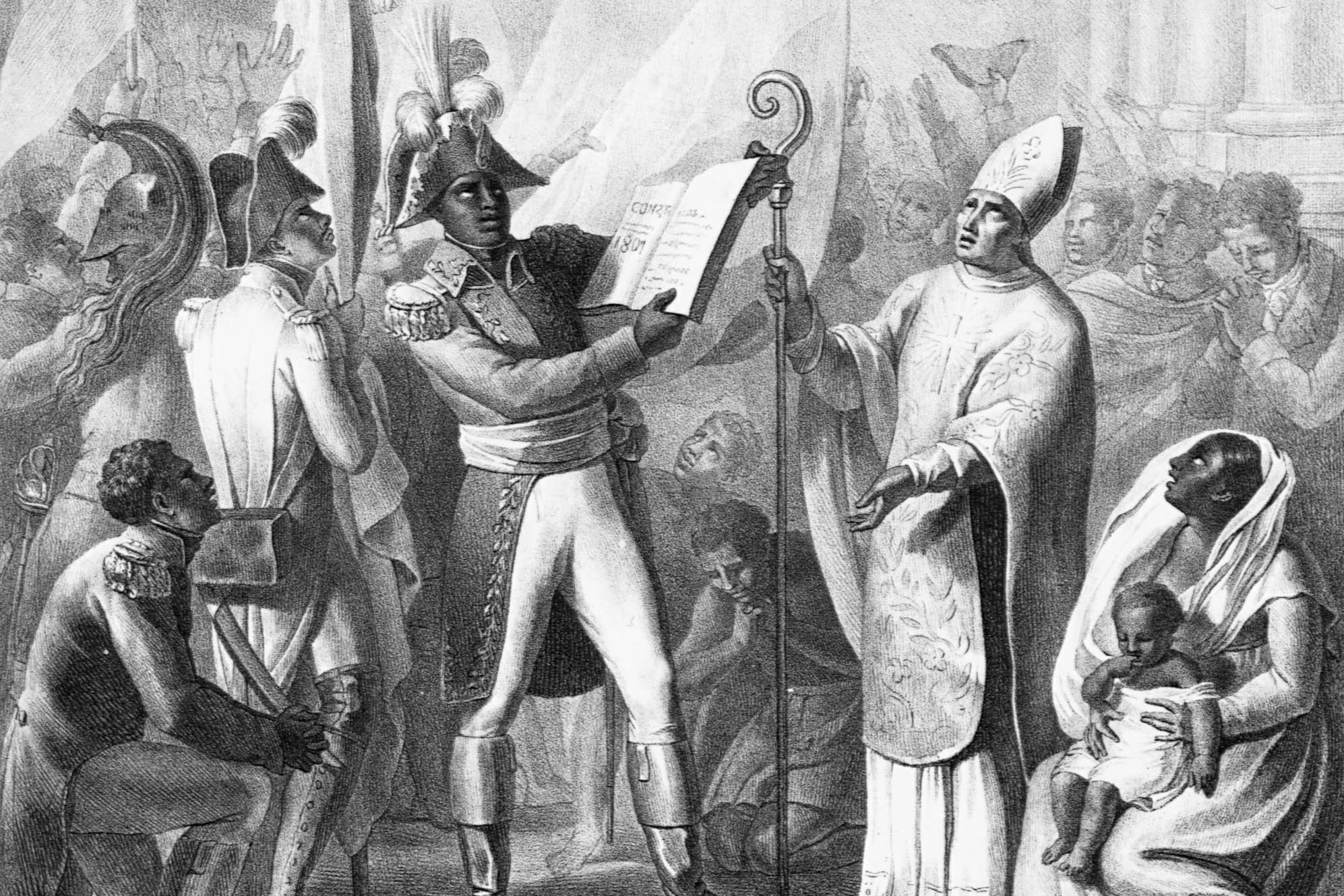 In this engraving Haitian revolutionary leader Toussaint L'Ouverture (1743-1803) holds up a proclamation in front of a bishop. (Photo by © CORBIS/Corbis via Getty Images)