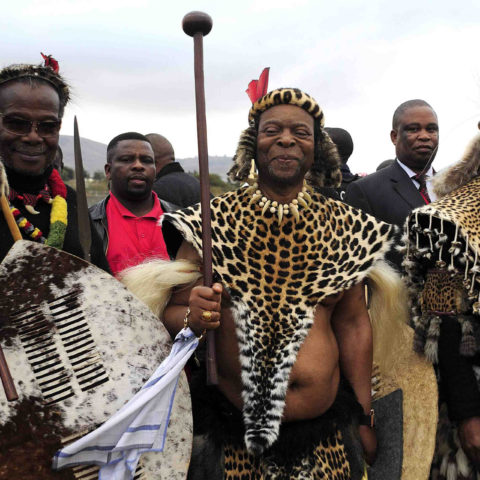 26 July 2014: (Left to right) Prince Mangosuthu Buthelezi, King Goodwill Zwelethini and former president Jacob Zuma during Zwelethini's wedding at Ondini Sports Complex in Ulundi. (Photograph by Gallo Images/ Sowetan/ Thulani Mbele)