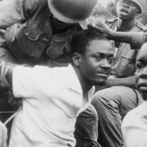 Early December 1960: Patrice Lumumba is manhandled by soldiers after his capture and return to Léopoldville, capital of the Democratic Republic of the Congo. (Photograph by Bettmann/Contributor)