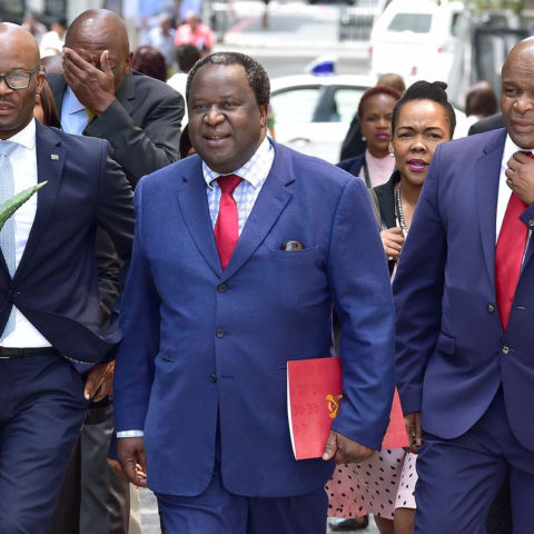20 February 2019: From left to right, Director General of the National Treasury Dondo Mogajane, Minister of Finance Tito Mboweni and Deputy Minister of Finance Mondli Gungubele arrive at parliament in Cape Town. (Photograph by Elmond Jiyane/GCIS)