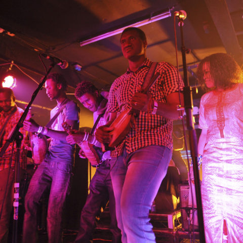 31 May 2015: Bassekou Kouyate and Ngoni Ba on stage at the Electrowerkz music venue in London, United Kingdom. (Photograph by C Brandon/Redferns via Getty Images)