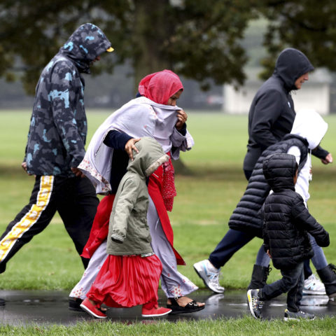 17 March 2019: People leave a community centre in Christchurch, New Zealand, after Australian Brenton Tarrant attacked two mosques during Friday prayers on 15 March, killing at least 50 people. (Photograph by Hannah Peters/Getty Images)