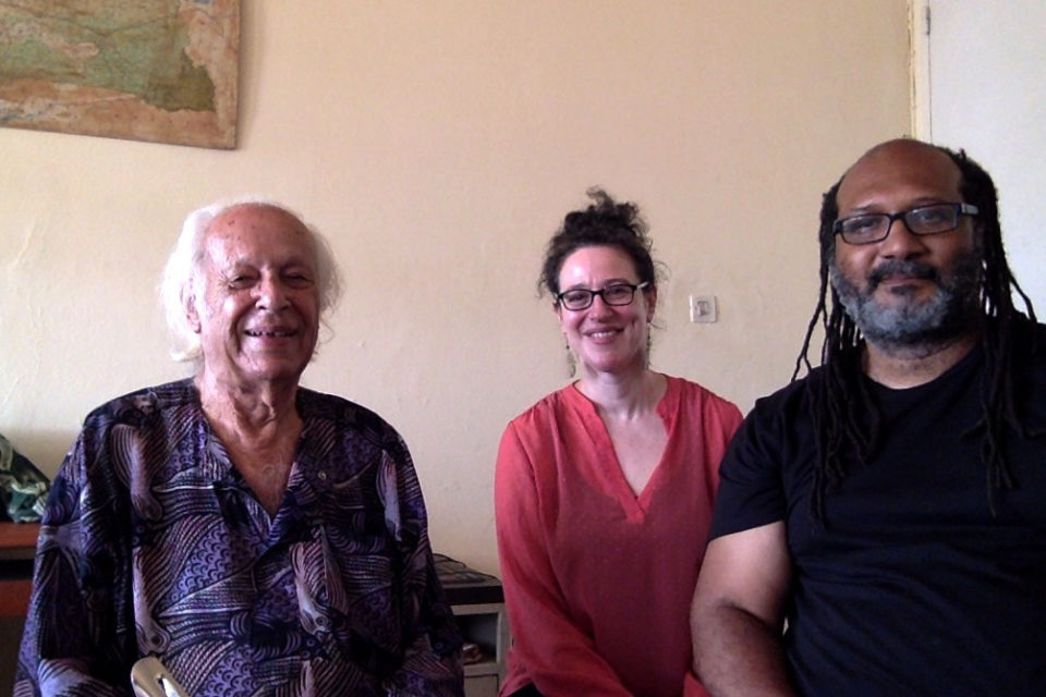 19 June 2018: (left to right) Samir Amin, Jane Anna Gordon and Lewis R. Gordon, at Amin's office in Dakar, Senegal.