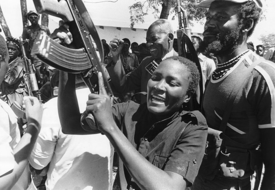 """The Vashandi, anticipating feminism in Africa, said women were to be trained and deployed to the front as fighters, placing them on par with their male counterparts."" Female guerilla in Zimbabwe. Date unknown. Photograph Getty Images."